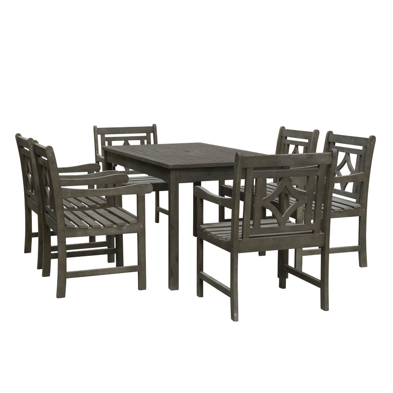 LATA Outdoor 7-piece Wood Patio Rectangular Table Dining Set