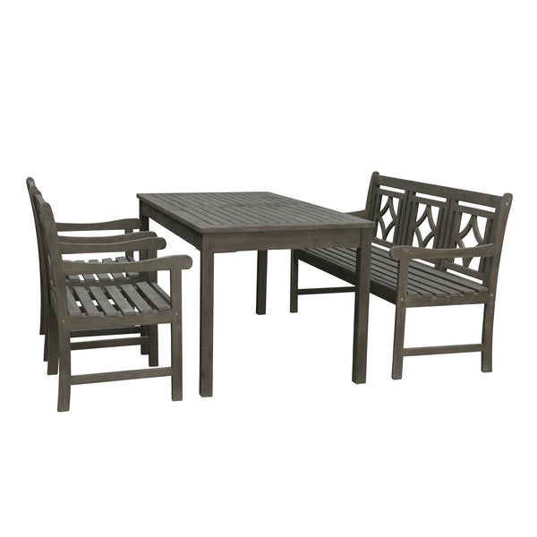 LATA Outdoor 4-piece Wood Patio Rectangular Table Dining Set