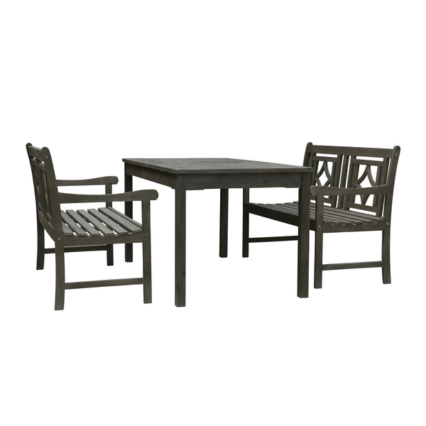 LATA Outdoor 3-piece Wood Patio Rectangular Table Dining Set