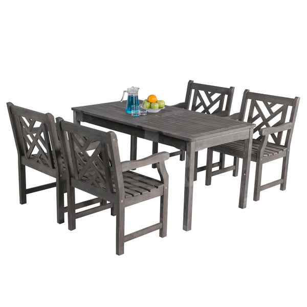LATA Outdoor 5-piece Hand-scraped Wood Patio Dining Set