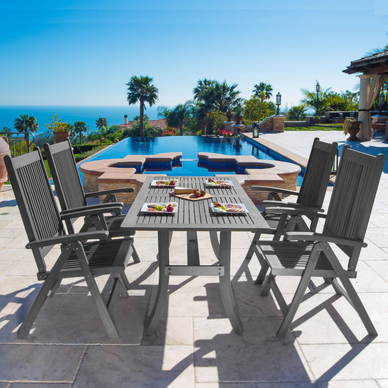 LATA Outdoor Patio Hand-scraped Wood 5-piece Dining Set with Reclining Chairs