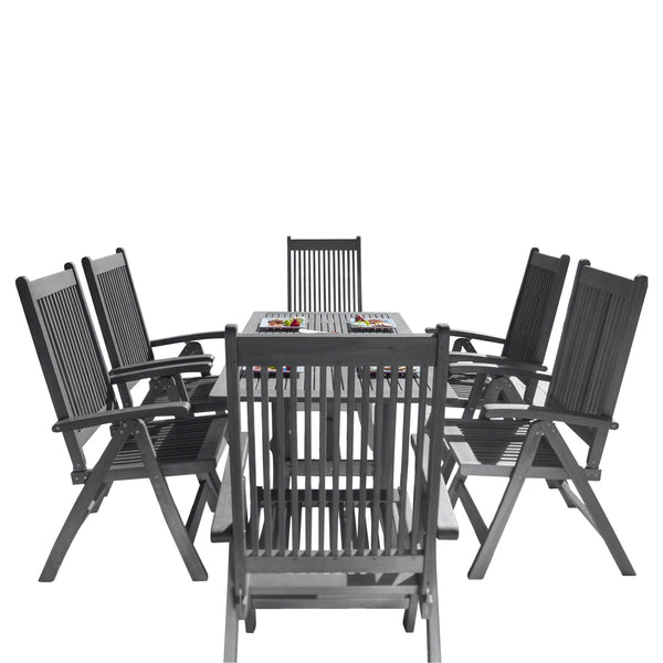 LATA Outdoor Patio Hand-scraped Wood 7-piece Dining Set with Reclining Chairs