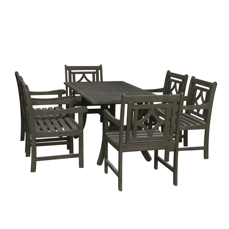 LATA Outdoor 7-piece Wood Patio Curvy Legs Table Dining Set