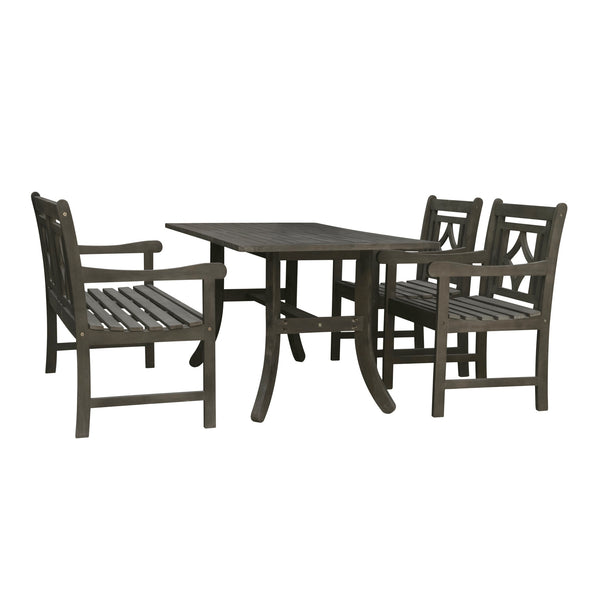 LATA Outdoor 4-piece Wood Patio Curvy Legs Table Dining Set