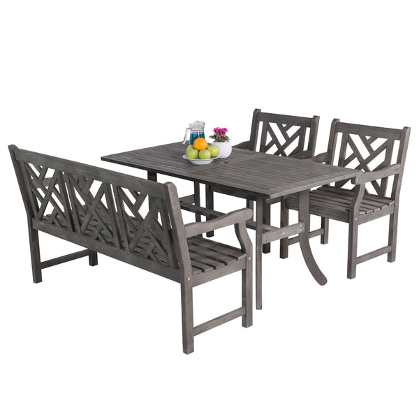 LATA Outdoor 4-piece Hand-scraped Wood Patio Dining Set with 5-foot Bench