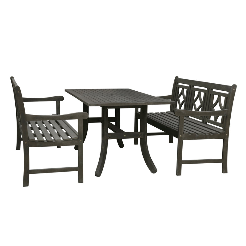 LATA Outdoor 3-piece Wood Patio Curvy Legs Table Dining Set