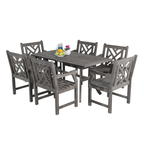 LATA Outdoor 7-piece Hand-scraped Wood Patio Dining Set