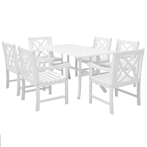 AUKI Outdoor 7-piece Wood Patio Dining Set in White