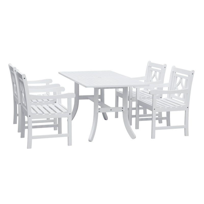 AUKI Outdoor 5-piece Wood Patio Curvy Legs Table Dining Set