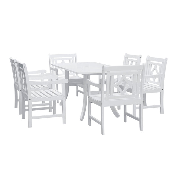 AUKI Outdoor 7-piece Wood Patio Curvy Legs Table Dining Set