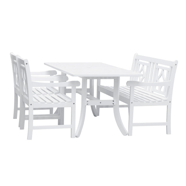 AUKI Outdoor 4-piece Wood Patio Curvy Legs Table Dining Set