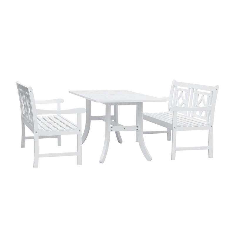 AUKI Outdoor 3-piece Wood Patio Curvy Legs Table Dining Set
