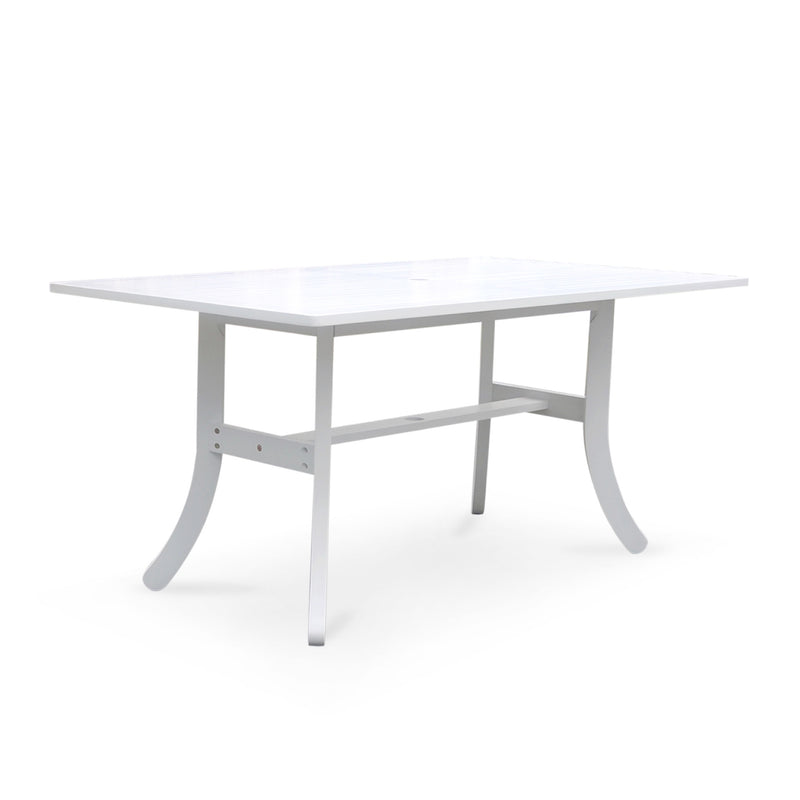 AUKI Outdoor Rectangular Dining Table with Curvy Legs