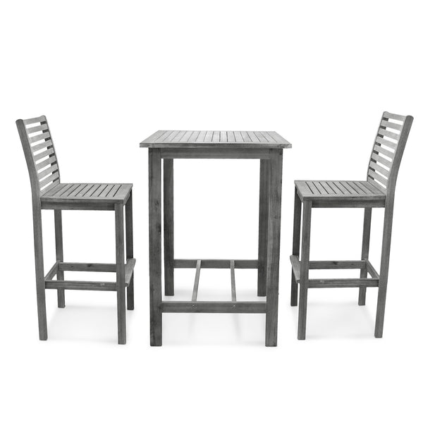 LATA Outdoor Patio Hand-scraped Wood Bar Set