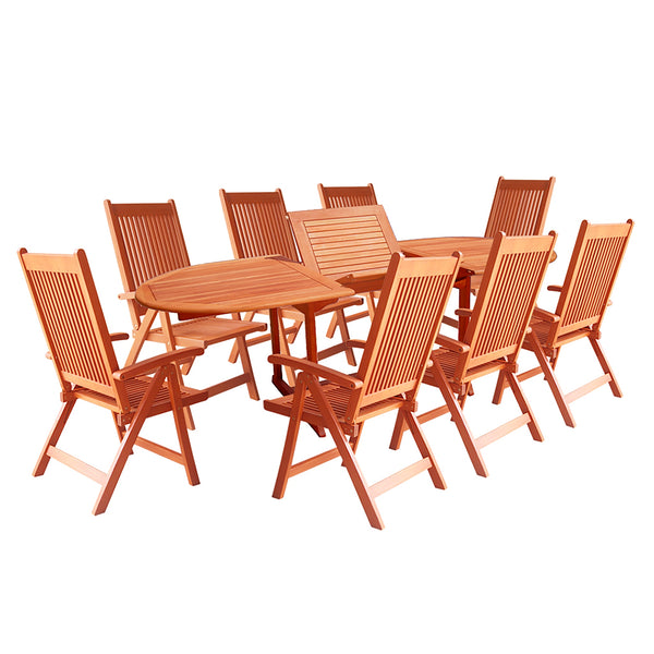 NORO Outdoor 9-piece Wood Patio Dining Set with Extension Table and Reclining Folding Chairs