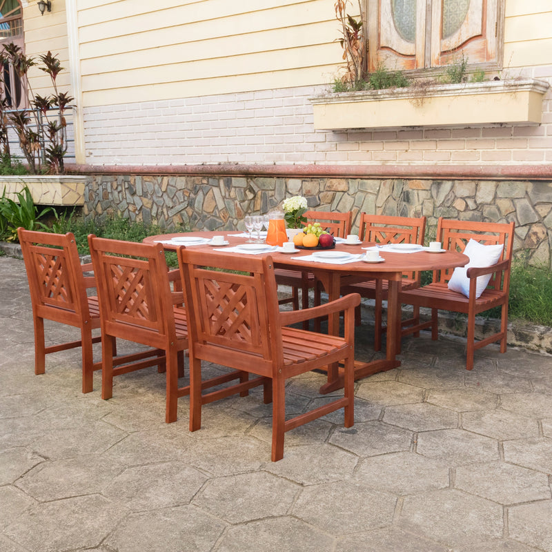 NORO Outdoor 7-piece Wood Patio Extendable Table Dining Set