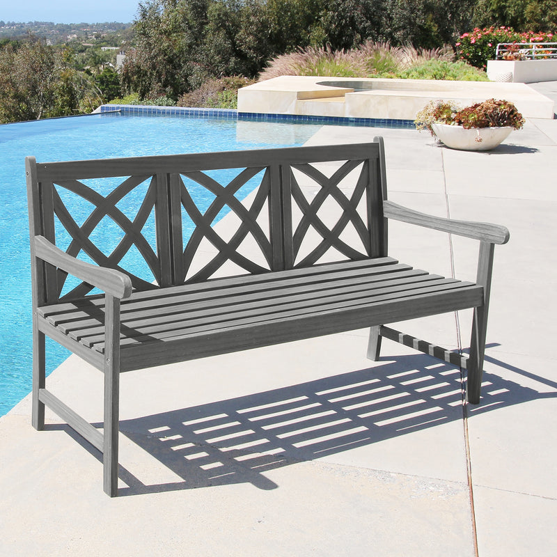 LATA Outdoor Patio 5-foot Hand-scraped Wood Garden Bench
