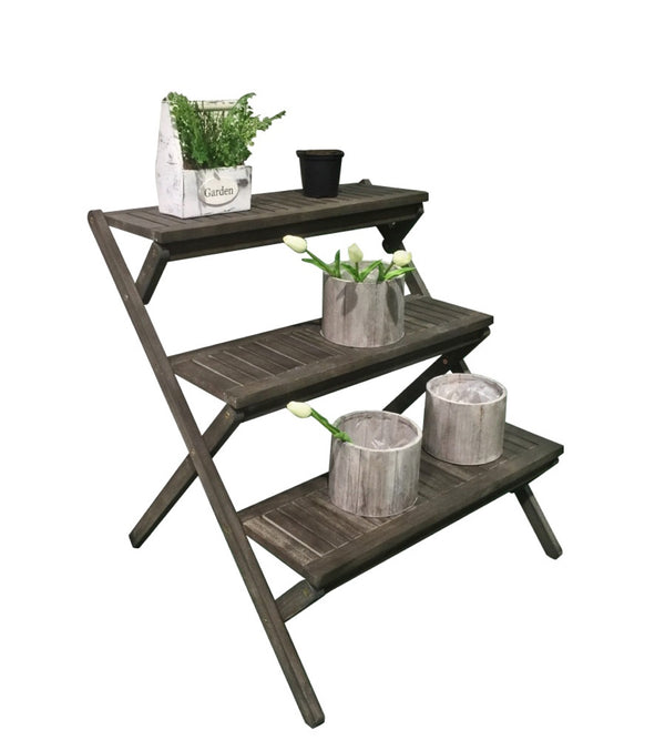 LATA  Three-Layer Hand-scraped Wood Garden Plant Stand