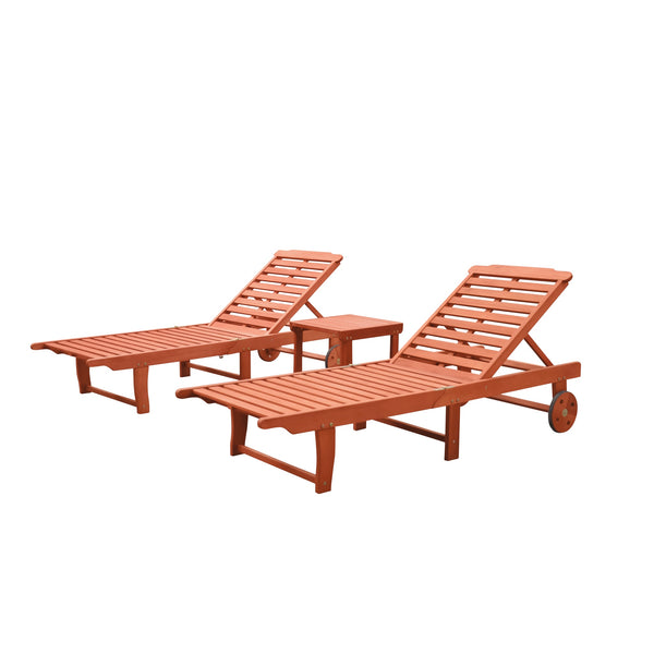 NORO Outdoor Patio Wood 3-Piece Beach & Pool Lounge Set