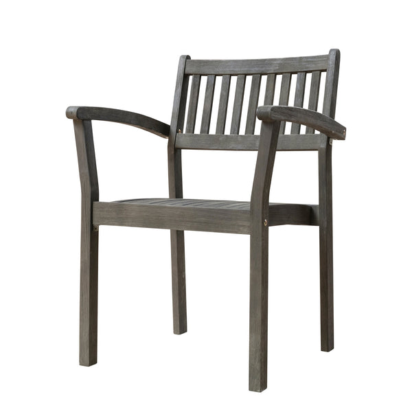 LATA Outdoor Patio Hand-scraped Wood Stacking Armchair (Set of 2)