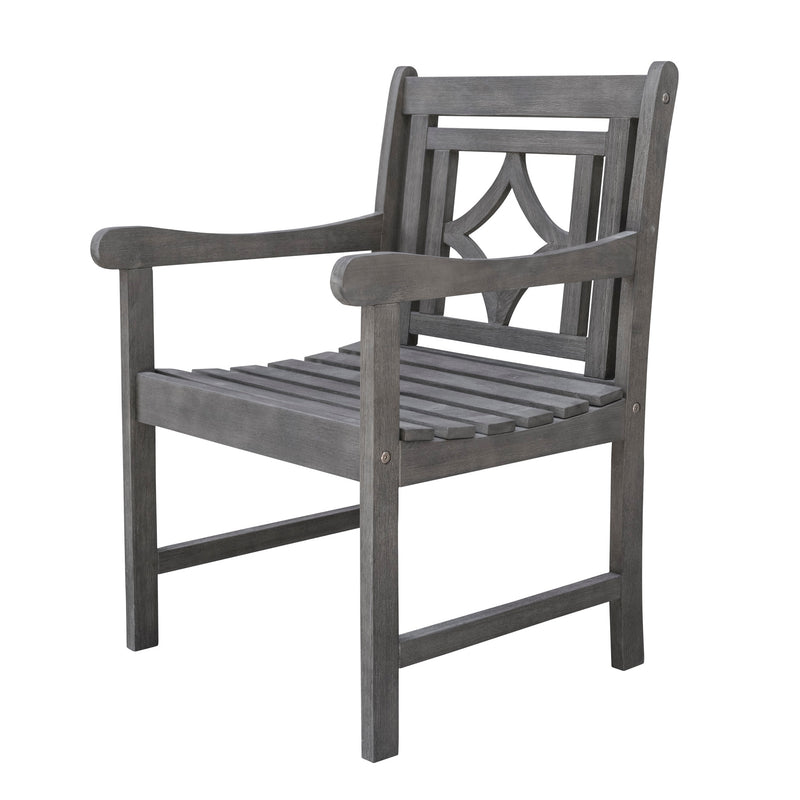 LATA Outdoor Patio Diamond Hand-scraped Hardwood Dining Armchair