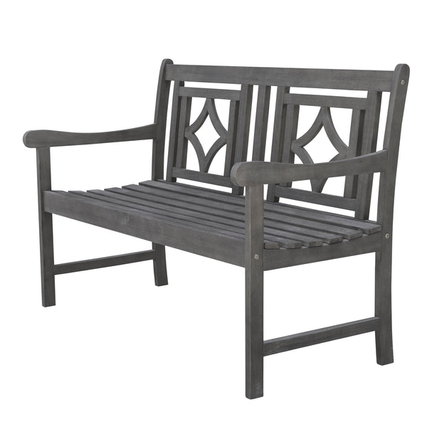 LATA Outdoor Patio Diamond 4-foot Hand-scraped Hardwood Bench