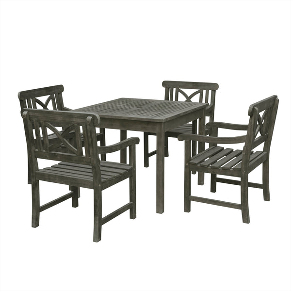 LATA Outdoor 5-piece Wood Patio Stacking Table Dining Set