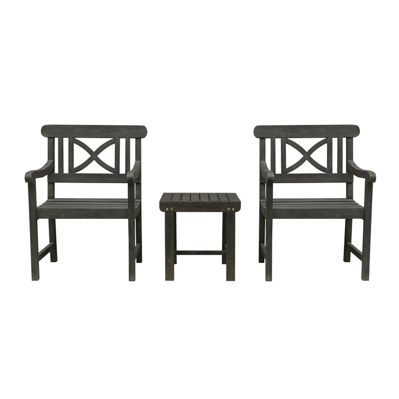 LATA Outdoor Patio Wood 3-Piece Conversation Set