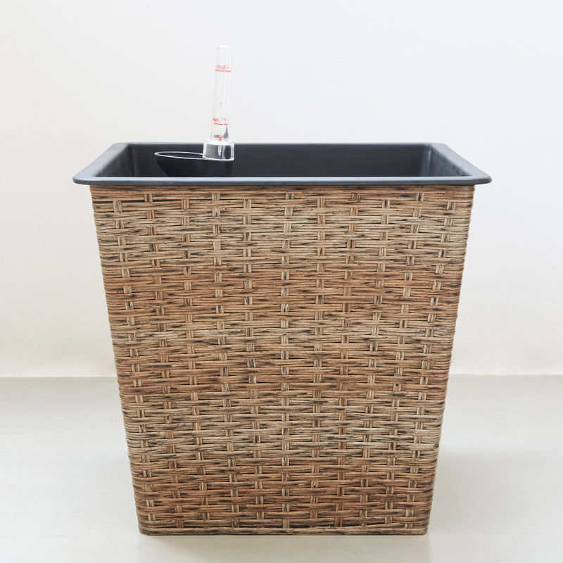 Hatteras 13 x 13 x 12 Thin Square Wicker Smart Self-Watering Planter in Light Brown