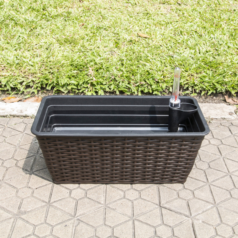 Yaddo 15 x 7 x 6 Thin Rectangular Wicker Self-Watering Planter in Espresso