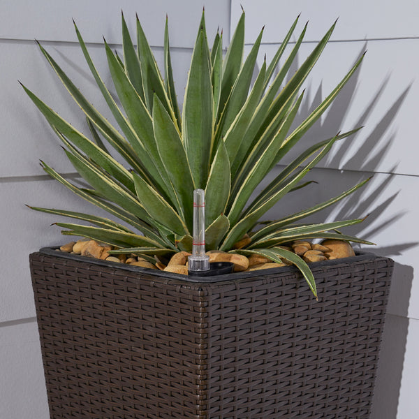 Bloomington 14 x 14 x 27 Cubico Wicker Smart Self-Watering Planter in Espresso