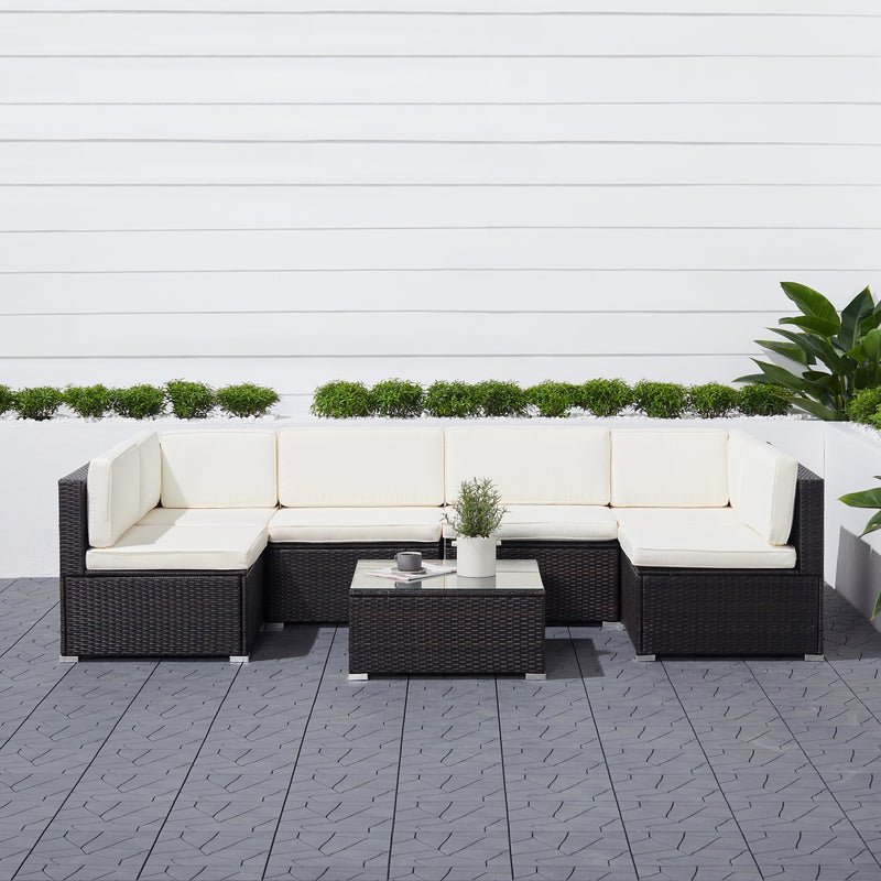 Venice 7-piece Classic Outdoor Wicker Sectional Sofa in Black with Seat and Back Cushion