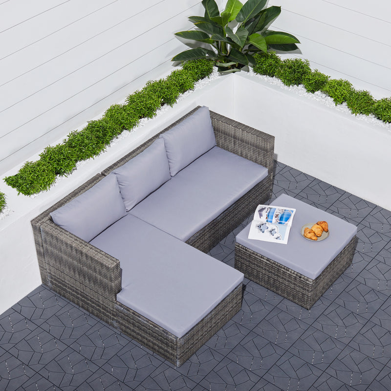 FIJI 3-piece Vintage Outdoor Cushioned Wicker Sectional Sofa Set