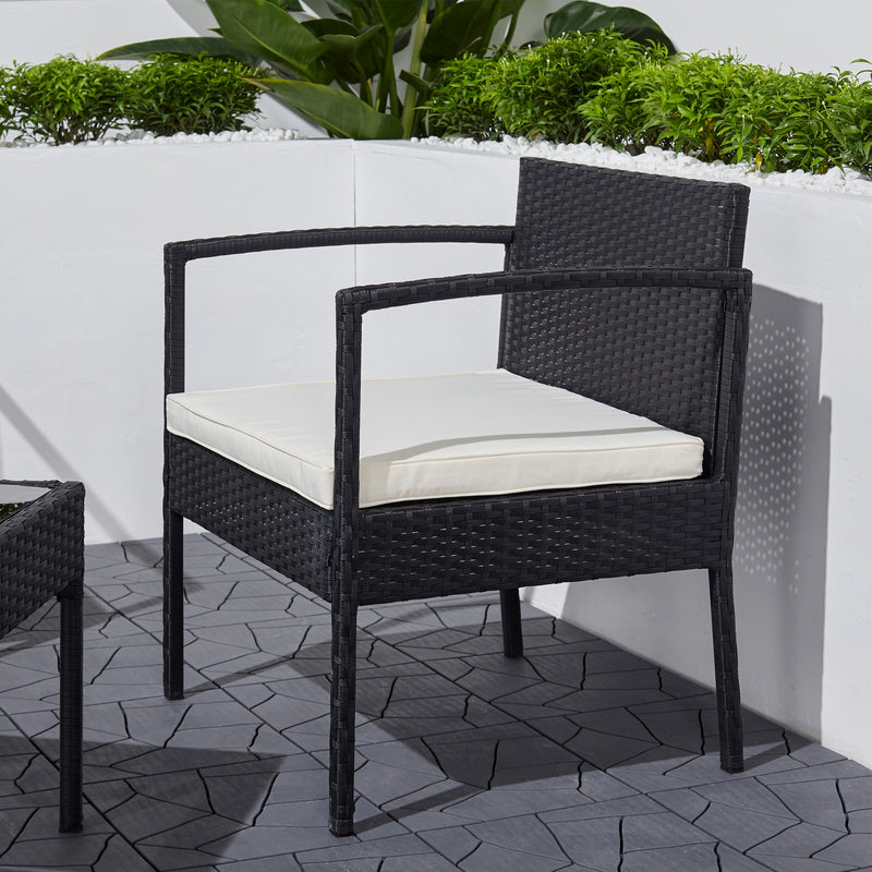 Tierra 3-Piece Classic Outdoor Wicker Coffee Lounger Set in Black with Cushion