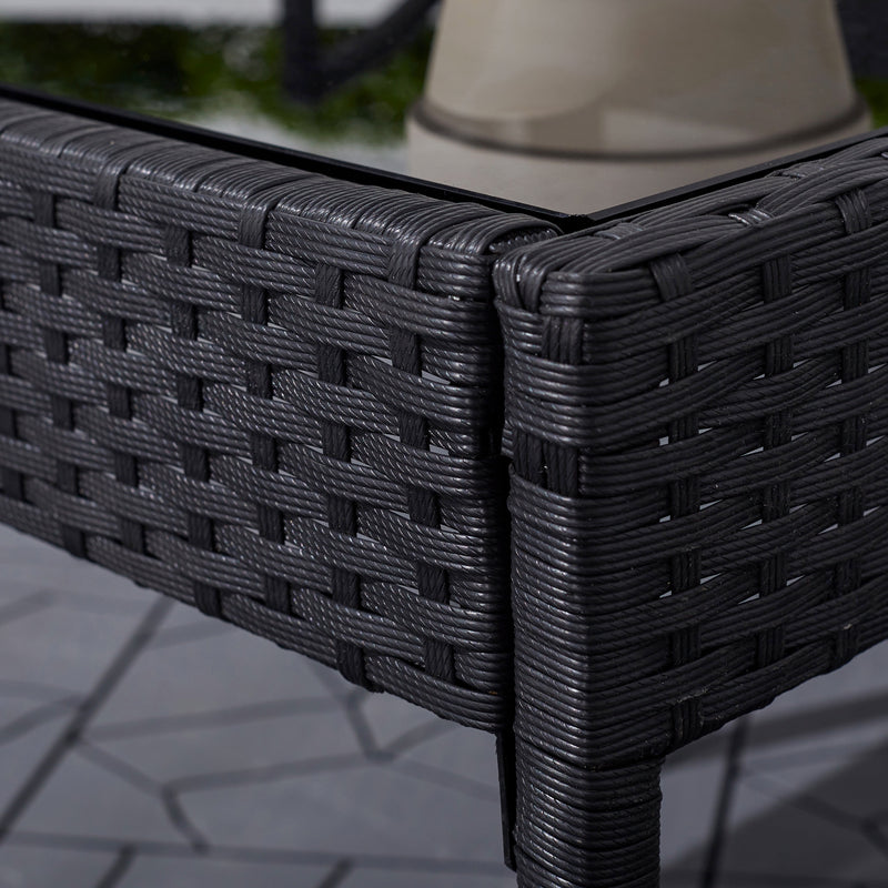 3-Piece Classic Outdoor Wicker Coffee Lounger Set in Black with Cushion