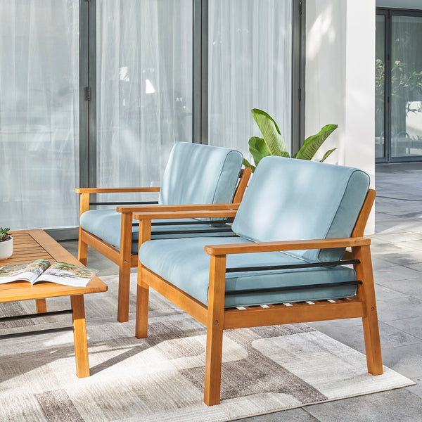 REWA Contemporary Patio Wood Sofa Club Chair