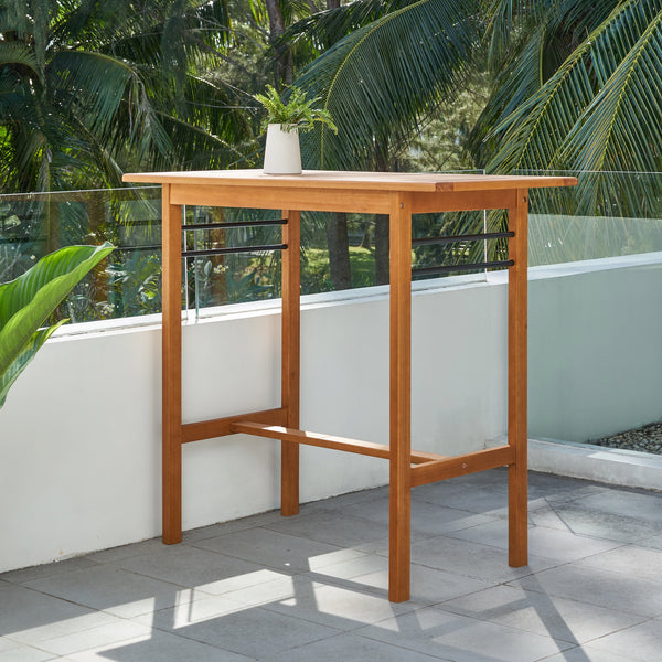 REWA Contemporary Patio Wood Bar Table