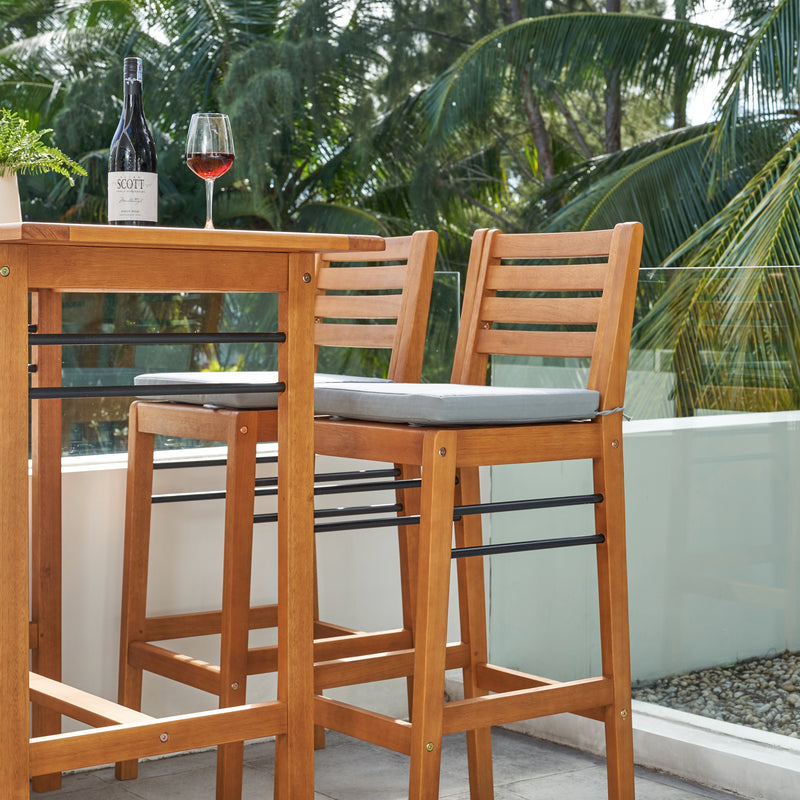 REWA Contemporary Patio Wood Bar Chair