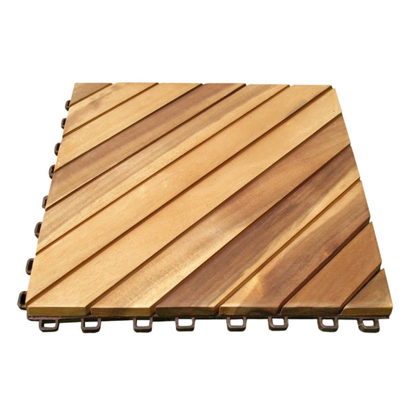 Outdoor Patio 12-Diagonal Slat Acacia Interlocking Deck Tile (Set of 10 Tiles)
