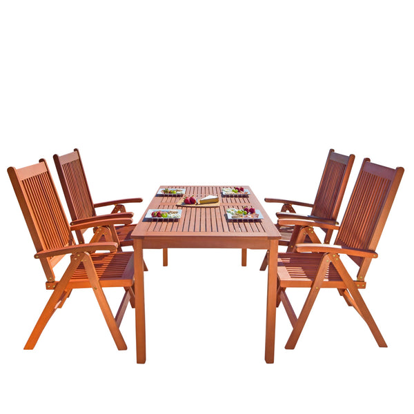 NORO Outdoor 5-piece Wood Patio Dining Set with Reclining Chairs