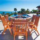 NORO Outdoor 7-piece Wood Patio Dining Set with Reclining Chairs
