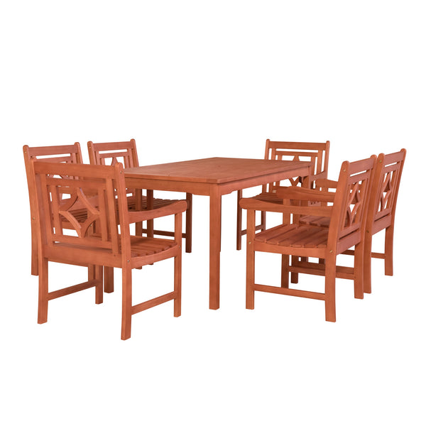 NORO Outdoor 7-piece Wood Patio Rectangular Table Dining Set
