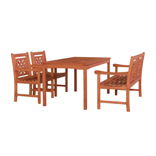 NORO Outdoor 4-piece Wood Patio Rectangular Table Dining Set