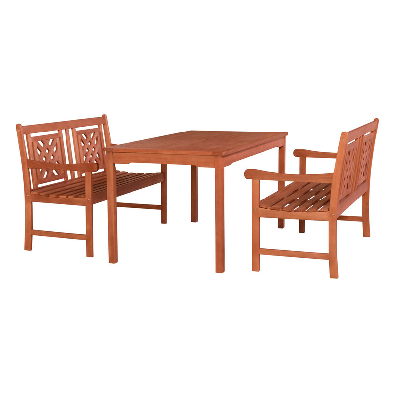 NORO Outdoor 3-piece Wood Patio Rectangular Table Dining Set