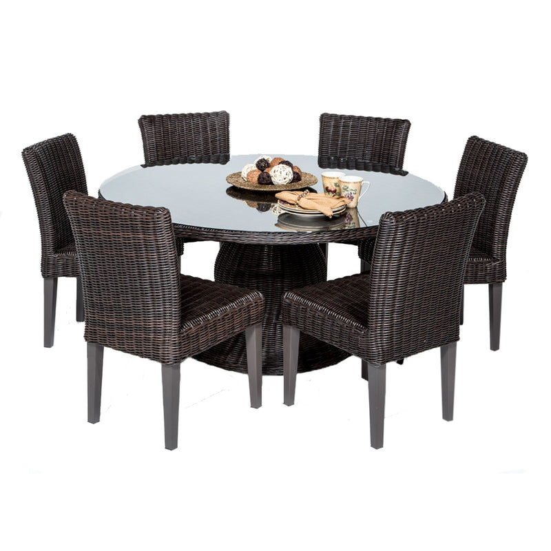 Venice 60 Inch Outdoor Patio Dining Table with 6 Armless Chairs Without Cushions