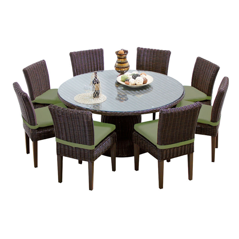 Venice 60 Inch Outdoor Patio Dining Table with 8 Armless Chairs