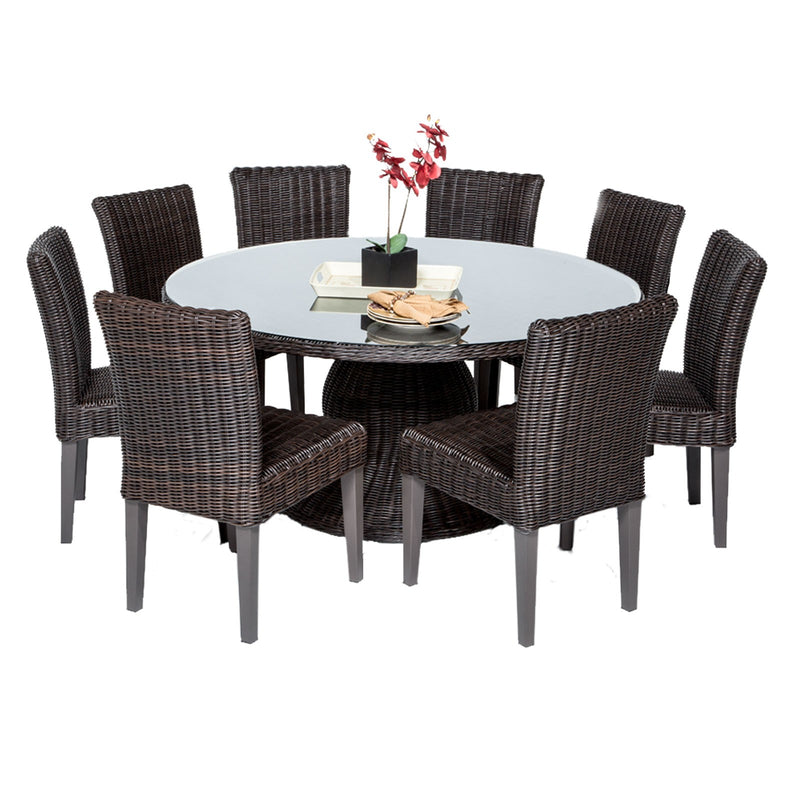 Venice 60 Inch Outdoor Patio Dining Table with 8 Armless Chairs Without Cushions