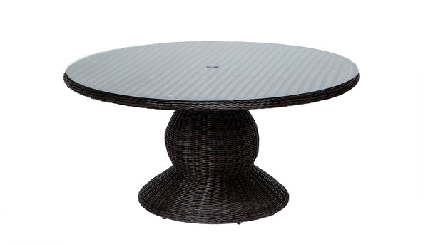 Venice 60 Inch Round Wicker Outdoor Patio Dining Table