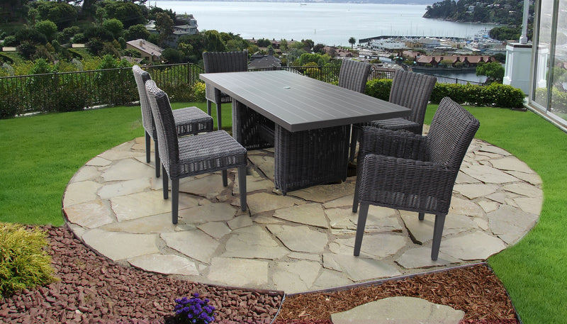 Venice Rectangular Outdoor Patio Dining Table with with 4 Armless Chairs and 2 Chairs w- Arms, Without Cushions