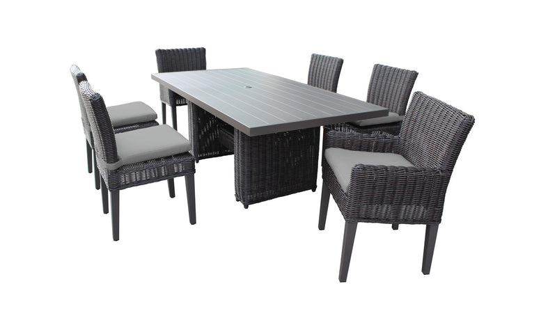 Venice Rectangular Outdoor Patio Dining Table with 4 Armless Chairs and 2 Chairs with Arms
